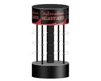 Permanent MDF Wooden Branded Display Stands With Graphic Multip Shelves