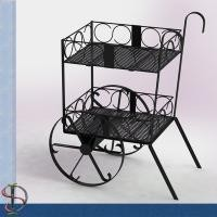 Wine Bottles Cart Food Display Stands With Slope Wire Shelves Two Layers