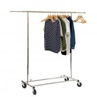Chrome Metal Clothing Rack On Wheels / Extendable Rods Portable Metal Clothes