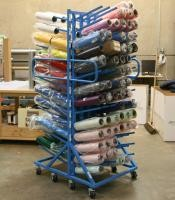 Double Sides Roller Industrial Display Stands With Six Columns Upright Pole