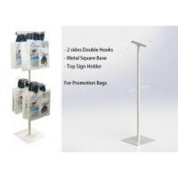 Two Sides Metal Floor Stand 2 Layers Wire Hooks Promotion Iron Display Rack