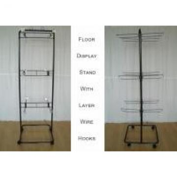 2 Ways Wire Metal Floor Display Stands With Casters Knock Down Structure