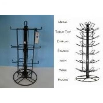 Rotating Spinner Metal Table Top Display Stands With 12 Hooks 3 Tiers Square