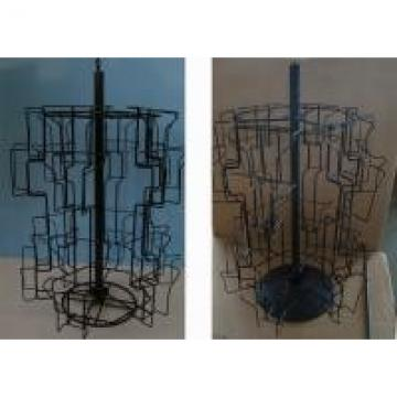Greating Cards Rotating Metal Table Top Display Stands With 24 Pockets KD