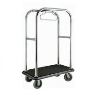 Chrome Luggage Cart Hotel Display Stand With Poly Wood Deck Excellent Stability