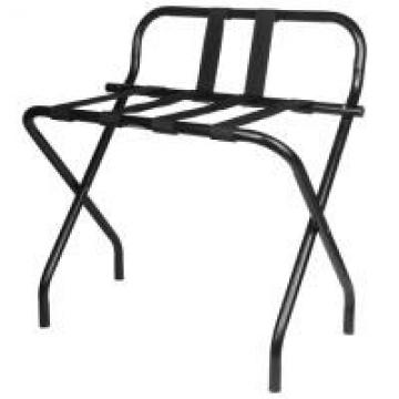 Back Rest Hotel Style Luggage Rack / Black Hotel Luggage Stand With Feet