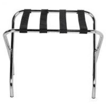 Folding Metal Luggage Rack / Black Hotel Luggage Stand With Bend Legs