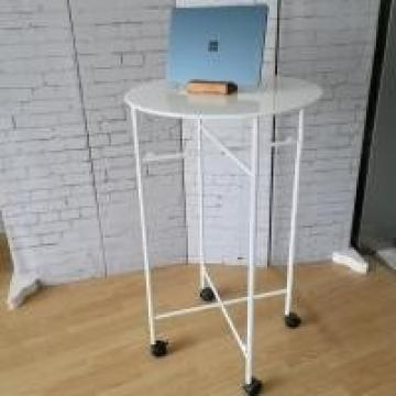 Home Round Metal Table For Kid / Durable Store Promation White Metal Table