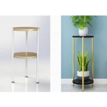 Round Shelves Bamboo And Metal Home Display Rack Floor Type For Living Room