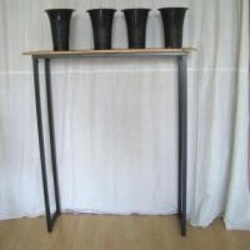 Wooden And Metal Plant Display Rack , Bamboo Shelves Plant Display Stand