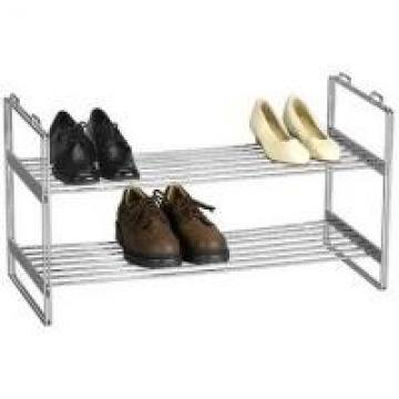 2 - Tier House White Wire Shoe Rack / Wire Fram Chrome Stackable Shoe Rack