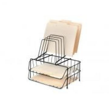 Iron Wire Metal Magazine Stand , Two File Office Table Top Wire Display Racks