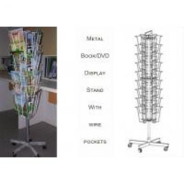 3 Sides Iron Wire Metal Book Display Stand For Magazines And Books Customized