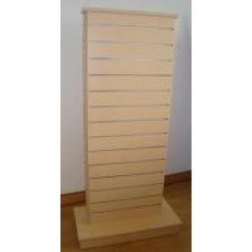 Maple Slat Wall Wooden Retail Display Stands With Aluminum Strip 2 Sides