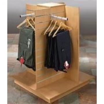 Slatwall Square Wooden Retail Display Stands For Grocery Store Four Ways