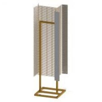 """Powder Wings Fixture Metal Floor Display Stands With Tube Base 1"""" Wire Grid Wall"""