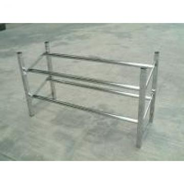 Chrome Tube Shoe Display Stand / Two Tier Stacked White Metal Shoe Rack
