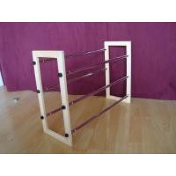 Wooden Frame Shoes Home Display Rack With 3 Layers Expand Iron Chrome Tube